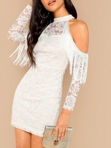 White Patchwork Tassel Lace Cut Out Band Collar Long Sleeve Flapper Mini Dress