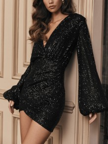 Black Patchwork Sequin V-neck Puff Sleeve Glitter Sparkly Fashion Mini Dress
