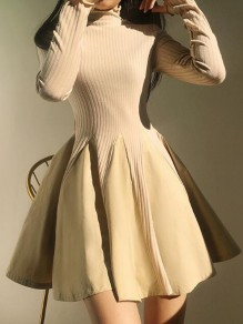 Beige Patchwork Draped High Neck Skater Homecoming Tutu Graduation Party Mini Dress