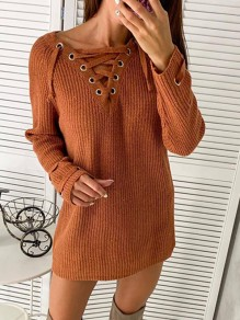 Red Patchwork Strappy V-neck Long Sleeve Fashion Mini Sweater Dress