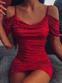 Red Plissee Cut Out Spaghetti Strap Bronzing prickelnde NYE Bankett elegante Party Mini Dress
