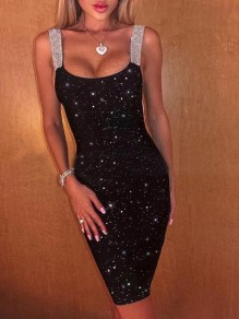 Black Patchwork Rhinestone Square Neck Backless Bodycon Sparkly Banquet Party Mini Dress