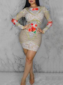 Minivestido bordado floral remache brillante bodycon bodycon brillante albaricoque