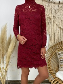 Mini robe dentelle col rond manches longues mode rouge