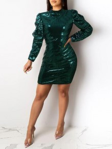 Green Sequin Puff Sleeve Band Collar Sparkly Glitter Banquet Party Mini Dress