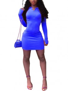 Blue Zipper V-neck Long Sleeve Sports Mini Dress With Gloves