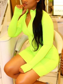 Neon Green Zipper V-neck Long Sleeve Sports Mini Dress With Gloves