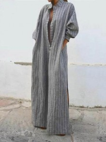 Grey Striped Pockets Side Slit Deep V-neck 3/4 Sleeve Fashion Maxi Dress