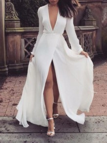 White Slit Deep V-neck Long Sleeve Bodycon Wedding Gowns Party Prom Maxi Dress