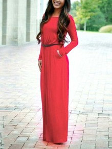 Red Belt Draped Round Neck Long Sleeve Fashion Maxi Dresses