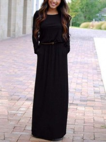 Black Belt Draped Round Neck Long Sleeve Fashion Maxi Dresses