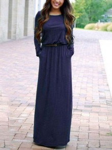 Navy Blue Belt Draped Round Neck Long Sleeve Fashion Maxi Dresses
