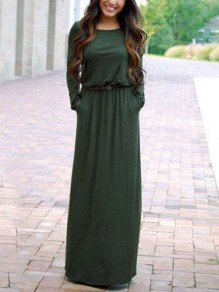 Army Green Pockets Belt Draped Round Neck Long Sleeve Fashion Casual Maxi Dress