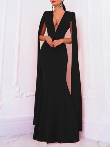 Black Deep V-neck Long Sleeve Backless Mermaid Cape Ball Gown Prom Elegant Formal Maxi Dress