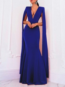 Royal Blue Deep V-neck Long Sleeve Backless Mermaid Cape Ball Gown Prom Elegant Formal Maxi Dress