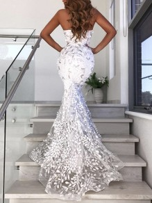 White Patchwork Grenadine Lace Cut Out Bandeau Backless Bodycon Mermaid Wedding Gowns Maxi Dress