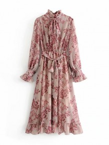 Pink Floral Chiffon Belt Bow Knot Ruffle Long Sleeve Vintage Maxi Dress