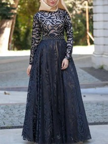 Black Patchwork Lace Grenadine High Waisted Elegant Banquet Party Maxi Dress