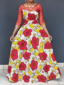 Red Floral Grenadine Pleated Big Swing Prom Evening Party Maxi Dress
