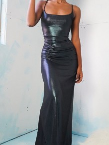 Black Spaghetti Strap Backless PU Leather Latex Bodycon Party Maxi Dress