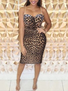 Leopard Print Spaghetti Strap Backless Bodycon Party Maxi Dress