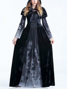 Black Skull Print Ribbons Long Sleeve Halloween Witch Costume Party Maxi Dress with Cape