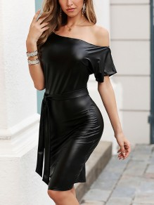 Black One Off Shoulder Belt Bodycon PU Leather Latex Patent Rubber Party Maxi Dress