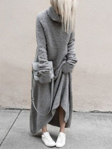 Grey Patchwork Draped High Neck Long Sleeve Fashion Sweater Dress