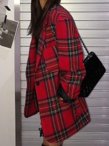 Red Black Buffalo Plaid Belt Notch Lapel Long Sleeve Retro Blazer Coat