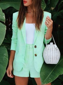 Green Single Breasted Bodycon Comfy V-neck Long Sleeve Going out Suit
