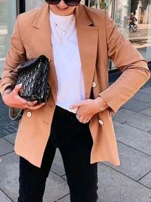 Khaki Buttons Pockets Band Collar Long Sleeve Fashion Suits