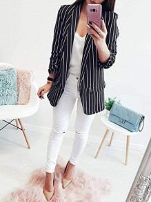 Black-White Striped Pockets Turndown Collar Long Sleeve Casual Suits Blazer