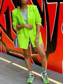 Neon Green Pockets Double Breasted Turndown Collar Casual Cardigan Blazer