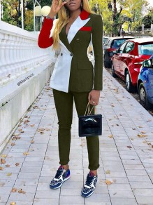 Army Green Buttons Pockets Two Piece Elegant Suit Long Jumpsuit