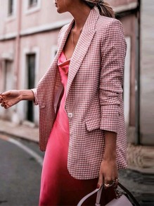 Pink Patchwork Buttons Pockets Turndown Collar Long Sleeve Suit