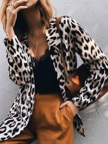 Black Leopard Print Turndown Collar Long Sleeve Fashion Suit