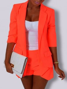 Orange Pockets Irregular Bodycon New Fashion Latest Women 3/4 Sleeve Modern Suit