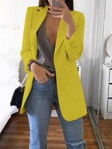 Yellow Pockets Tailored Collar Long Sleeve Plus Size Casual Work Blazer Suit