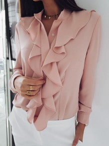 Pink Cascading Ruffle Buttons Irregular V-neck Long Sleeve Office Ladies Blouses