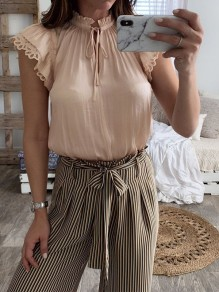 Apricot Lace Ruffle Lace-up Ruffle Collar Short Sleeve Sweet Blouse