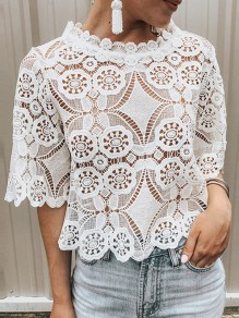 White Lace Band Collar Elbow Sleeve Going out Blouse