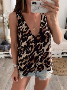 Brown Leopard Print V-neck Sleeveless Going out Fashion Blouse