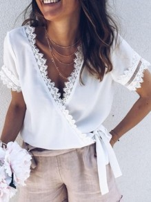 White Patchwork Lace Bow V-neck Short Sleeve Going out Blouse