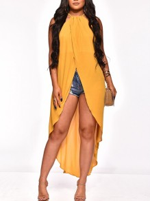 Yellow Halter Neck Pleated Irregular High-Low Front Slit Party Blouse
