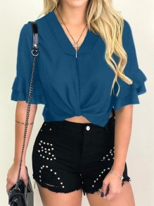 Blue Ruffle Ruched V-neck Short Sleeve Going out Crop Blouse