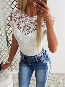 White Patchwork Lace Cut Out Round Neck Short Sleeve Sweet Blouse