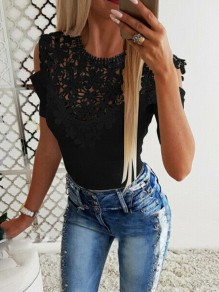 Black Patchwork Lace Cut Out Round Neck Short Sleeve Sweet Blouse