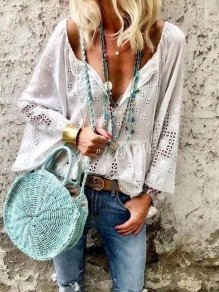 White Cut Out Embroidery Flare Sleeve Deep V-neck Mexican Bohemian Blouse