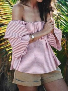 Pink-White Striped Off Shoulder 3/4 Sleeve Fashion Going out Blouse