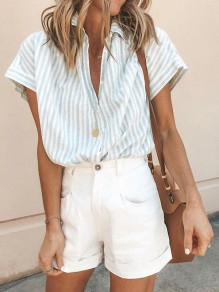 Light Blue Striped Single Breasted V-neck Fashion Blouse